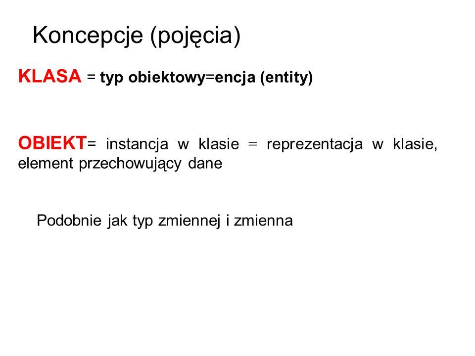 KLASA = typ obiektowy=encja (entity) OBIEKT = instancja w klasie = reprezentacja w klasie, element przechowujący dane Podobnie jak typ zmiennej i zmie