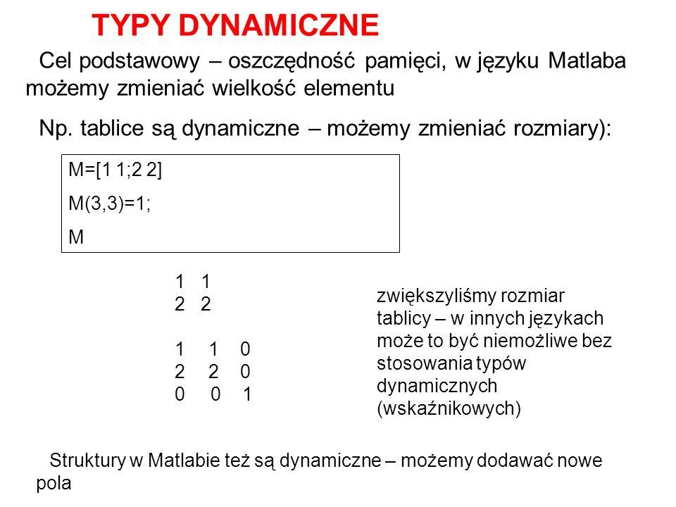 TYPY DYNAMICZNE Cel podstawowy – oszczędność pamięci, w języku Matlaba możemy zmieniać wielkość elementu Np. tablice są dynamiczne – możemy zmieniać r
