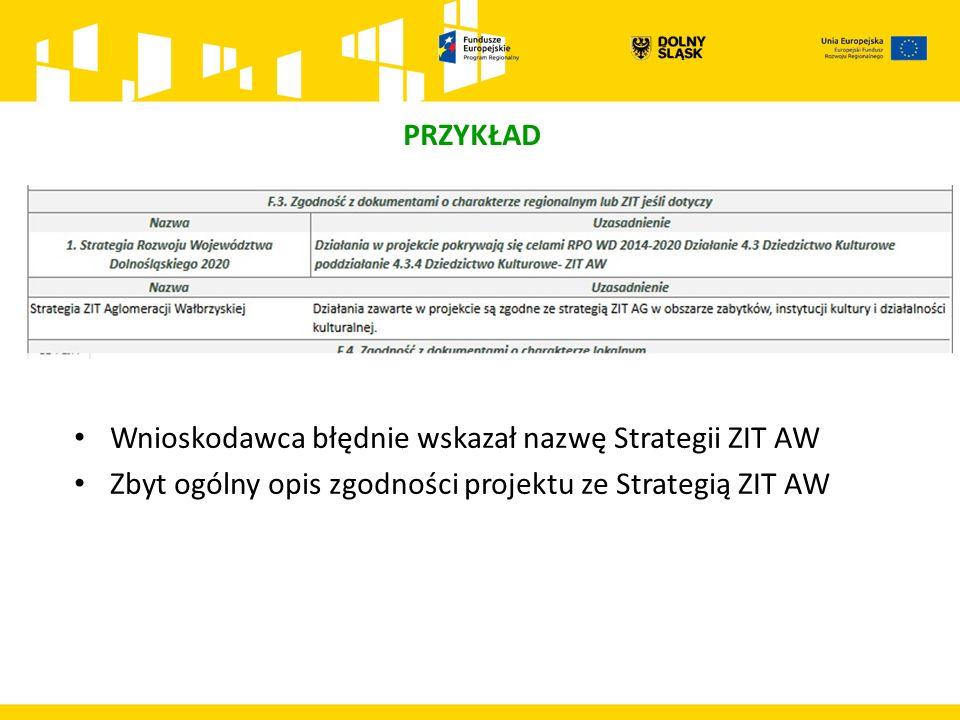 PRZYKŁAD Wnioskodawca błędnie wskazał nazwę Strategii ZIT AW Zbyt ogólny opis zgodności projektu ze Strategią ZIT AW