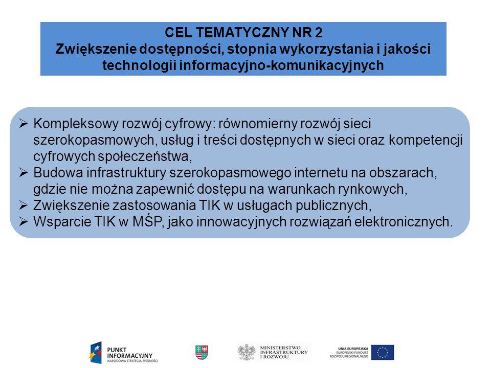  Kompleksowy rozwój cyfrowy: równomierny rozwój sieci szerokopasmowych, usług i treści dostępnych w sieci oraz kompetencji cyfrowych społeczeństwa,  Budowa infrastruktury szerokopasmowego internetu na obszarach, gdzie nie można zapewnić dostępu na warunkach rynkowych,  Zwiększenie zastosowania TIK w usługach publicznych,  Wsparcie TIK w MŚP, jako innowacyjnych rozwiązań elektronicznych.