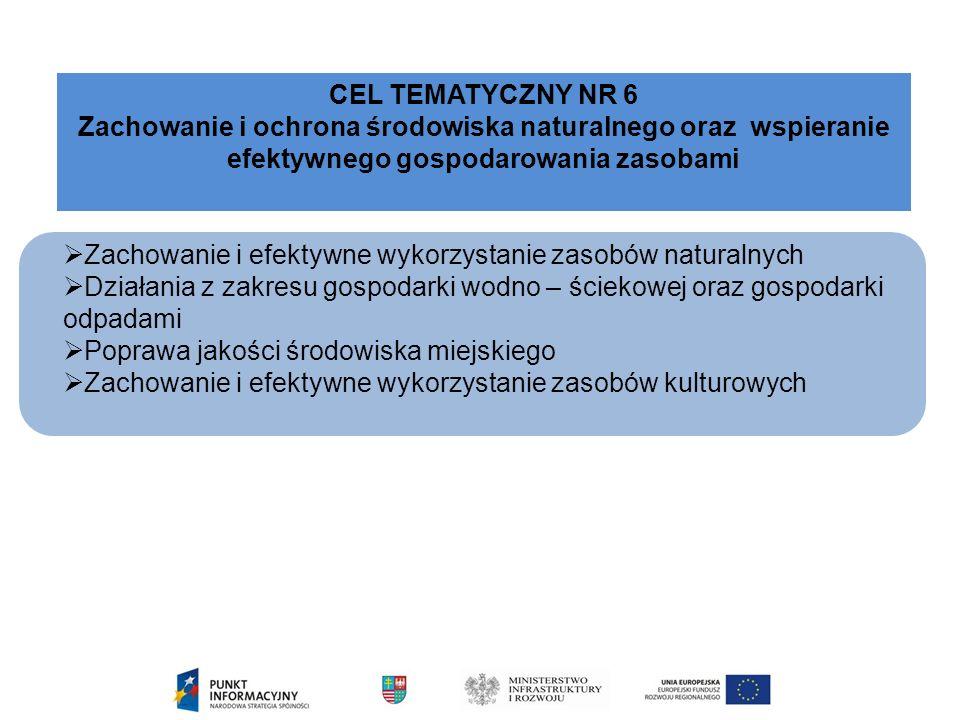  Zachowanie i efektywne wykorzystanie zasobów naturalnych  Działania z zakresu gospodarki wodno – ściekowej oraz gospodarki odpadami  Poprawa jakości środowiska miejskiego  Zachowanie i efektywne wykorzystanie zasobów kulturowych CEL TEMATYCZNY NR 6 Zachowanie i ochrona środowiska naturalnego oraz wspieranie efektywnego gospodarowania zasobami