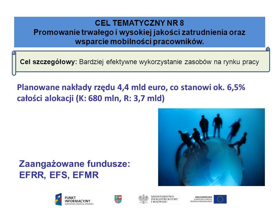 CEL TEMATYCZNY NR 8 Promowanie trwałego i wysokiej jakości zatrudnienia oraz wsparcie mobilności pracowników.