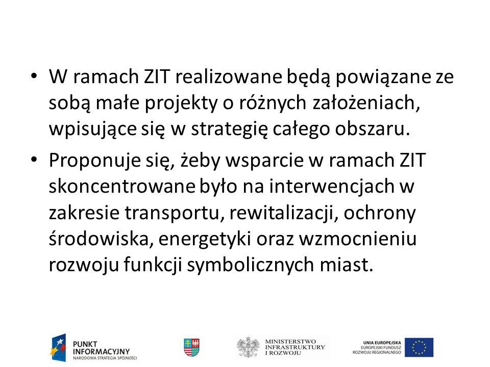 W ramach ZIT realizowane będą powiązane ze sobą małe projekty o różnych założeniach, wpisujące się w strategię całego obszaru.