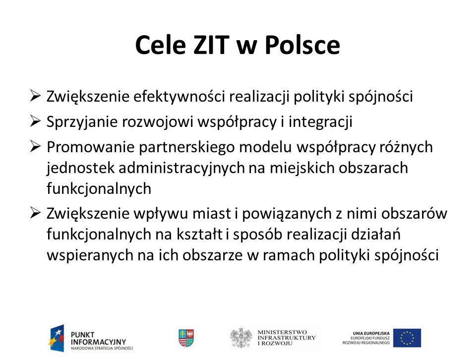 Cele ZIT w Polsce  Zwiększenie efektywności realizacji polityki spójności  Sprzyjanie rozwojowi współpracy i integracji  Promowanie partnerskiego modelu współpracy różnych jednostek administracyjnych na miejskich obszarach funkcjonalnych  Zwiększenie wpływu miast i powiązanych z nimi obszarów funkcjonalnych na kształt i sposób realizacji działań wspieranych na ich obszarze w ramach polityki spójności