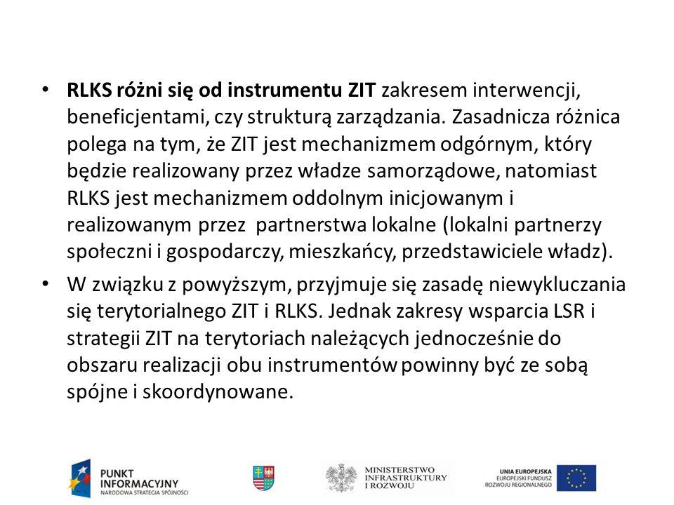 RLKS różni się od instrumentu ZIT zakresem interwencji, beneficjentami, czy strukturą zarządzania.