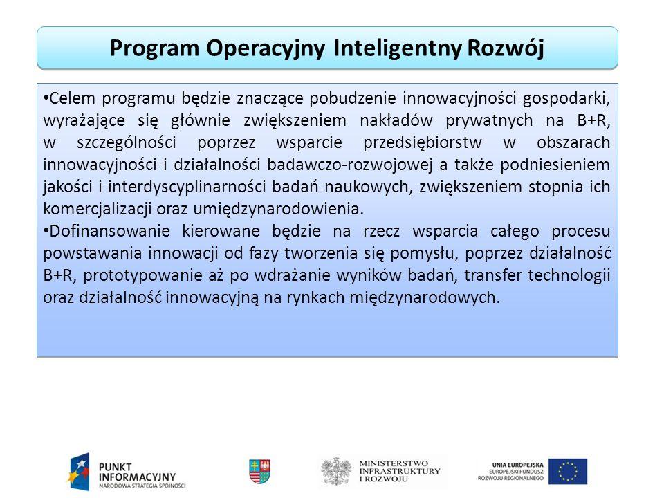 Program Operacyjny Inteligentny Rozwój Celem programu będzie znaczące pobudzenie innowacyjności gospodarki, wyrażające się głównie zwiększeniem nakładów prywatnych na B+R, w szczególności poprzez wsparcie przedsiębiorstw w obszarach innowacyjności i działalności badawczo-rozwojowej a także podniesieniem jakości i interdyscyplinarności badań naukowych, zwiększeniem stopnia ich komercjalizacji oraz umiędzynarodowienia.