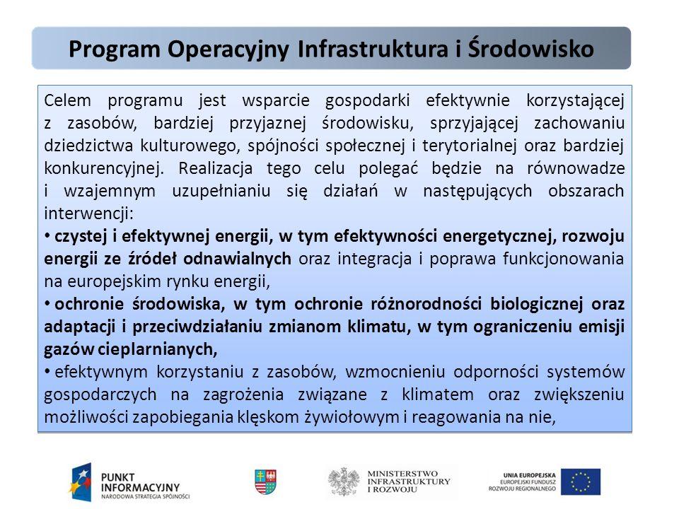 Program Operacyjny Infrastruktura i Środowisko Celem programu jest wsparcie gospodarki efektywnie korzystającej z zasobów, bardziej przyjaznej środowisku, sprzyjającej zachowaniu dziedzictwa kulturowego, spójności społecznej i terytorialnej oraz bardziej konkurencyjnej.