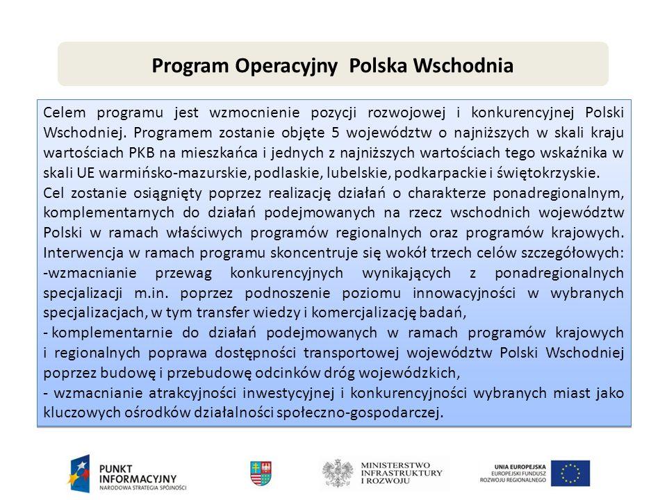 Program Operacyjny Polska Wschodnia Celem programu jest wzmocnienie pozycji rozwojowej i konkurencyjnej Polski Wschodniej.