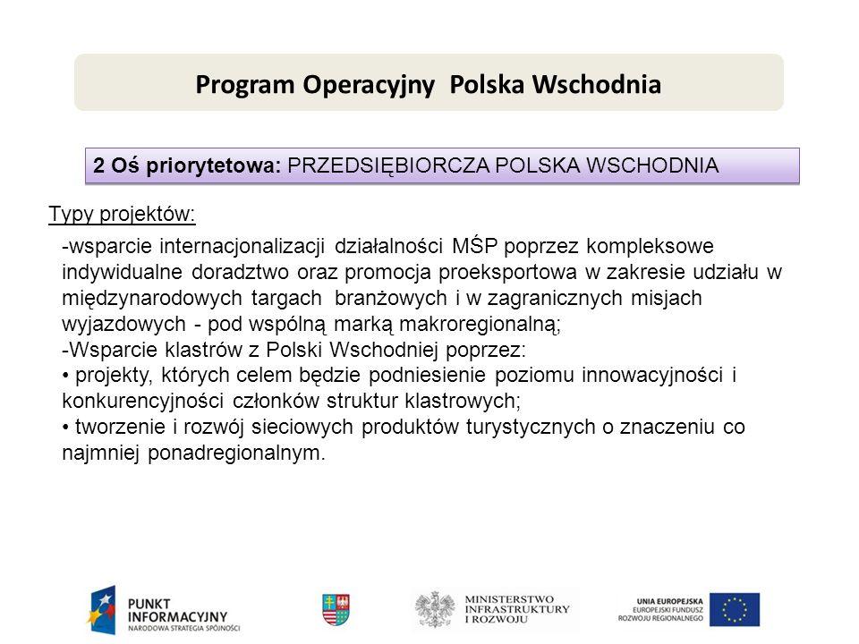 2 Oś priorytetowa: PRZEDSIĘBIORCZA POLSKA WSCHODNIA Typy projektów: -wsparcie internacjonalizacji działalności MŚP poprzez kompleksowe indywidualne doradztwo oraz promocja proeksportowa w zakresie udziału w międzynarodowych targach branżowych i w zagranicznych misjach wyjazdowych - pod wspólną marką makroregionalną; -Wsparcie klastrów z Polski Wschodniej poprzez: projekty, których celem będzie podniesienie poziomu innowacyjności i konkurencyjności członków struktur klastrowych; tworzenie i rozwój sieciowych produktów turystycznych o znaczeniu co najmniej ponadregionalnym.