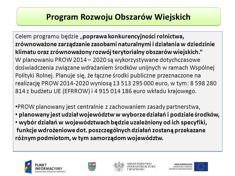 """Program Rozwoju Obszarów Wiejskich Celem programu będzie """"poprawa konkurencyjności rolnictwa, zrównoważone zarządzanie zasobami naturalnymi i działania w dziedzinie klimatu oraz zrównoważony rozwój terytorialny obszarów wiejskich. W planowaniu PROW 2014 – 2020 są wykorzystywane dotychczasowe doświadczenia związane wdrażaniem środków unijnych w ramach Wspólnej Polityki Rolnej."""