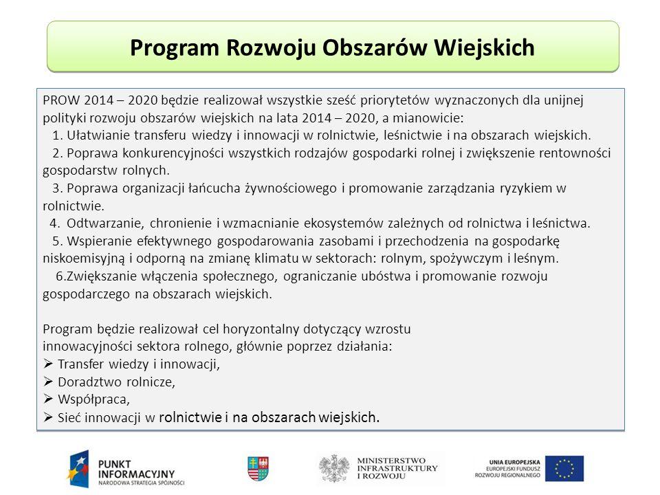 Program Rozwoju Obszarów Wiejskich PROW 2014 – 2020 będzie realizował wszystkie sześć priorytetów wyznaczonych dla unijnej polityki rozwoju obszarów wiejskich na lata 2014 – 2020, a mianowicie: 1.