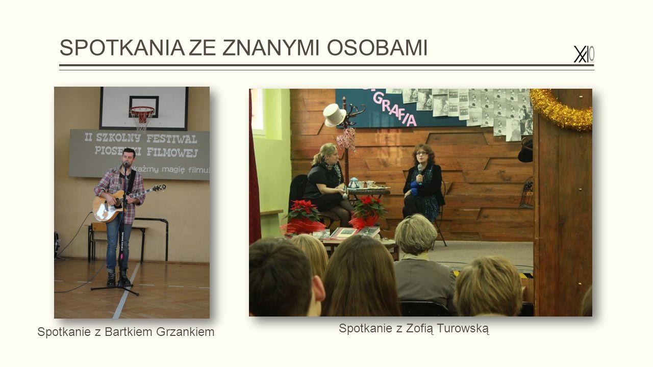 SPOTKANIA ZE ZNANYMI OSOBAMI Spotkanie z Zofią Turowską Spotkanie z Bartkiem Grzankiem