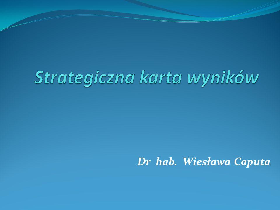 Zasady realizacji skutecznej strategii Podporządkowanie struktury organizacyjnej realizacji strategii Synergia międzywydziałowa Komunikacja Realizacja strategii jako obowiązek każdego pracownika Zrozumienie strategii Indywidualne karty wyników Strategia jako ciągły proces Zarządzanie zmianami przez liderów Powiązanie budżetu ze strategią Strategiczne uczenie się Mobilizacja System zarządzania strategicznego Operacjonalizacja strategii Mapy strategii Zrównoważona karta wyników