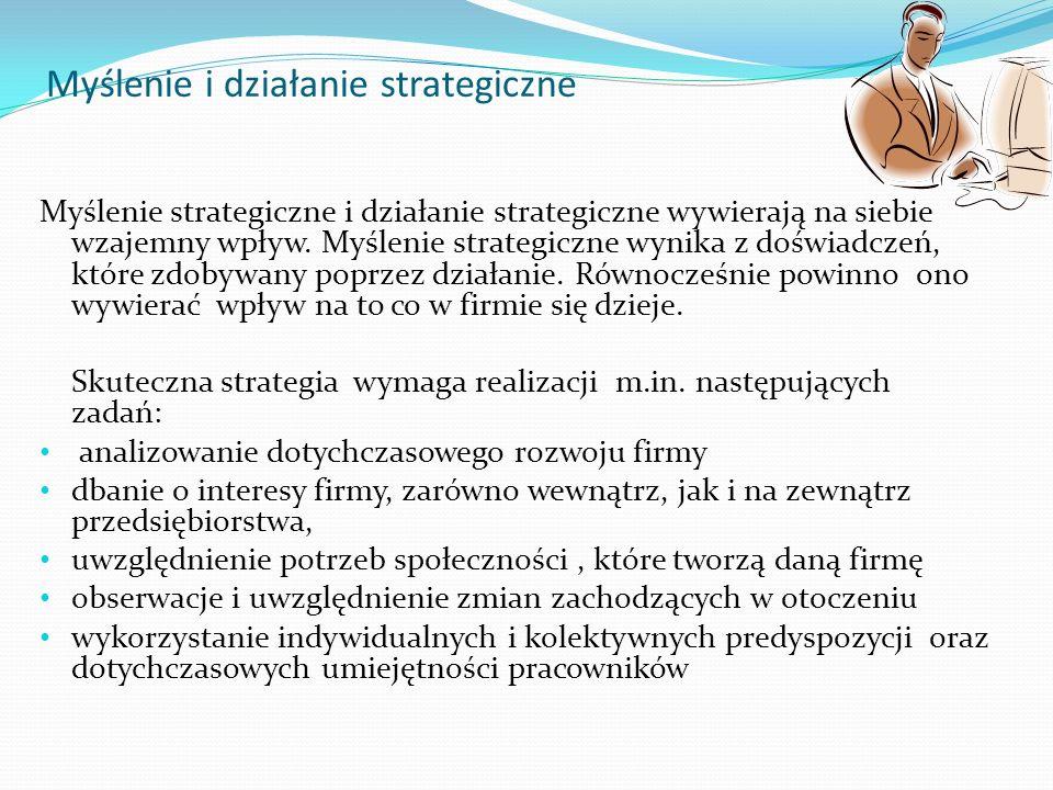 Myślenie i działanie strategiczne Myślenie strategiczne i działanie strategiczne wywierają na siebie wzajemny wpływ. Myślenie strategiczne wynika z do