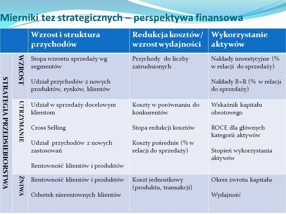 Mierniki tez strategicznych – perspektywa finansowa Wzrost i struktura przychodów Redukcja kosztów/ wzrost wydajności Wykorzystanie aktywów STRATEGIA PRZEDSIEBIORSTWA WZROST Stopa wzrostu sprzedaży wg segmentów Udział przychodów z nowych produktów, rynków, klientów Przychody do liczby zatrudnionych Nakłady inwestycyjne (% w relacji do sprzedaży) Nakłady B+R (% w relacji do sprzedaży) UTRZYMANIE Udział w sprzedaży docelowym klientom Cross Selling Udział przychodów z nowych zastosowań Rentowność klientów i produktów Koszty w porównaniu do konkurentów Stopa redukcji kosztów Koszty pośrednie (% w relacji do sprzedaży) Wskaźnik kapitału obrotowego ROCE dla głównych kategorii aktywów Stopień wykorzystania aktywów ŻNIWA Rentowność klientów i produktów Odsetek nierentownych klientów Koszt jednostkowy (produktu, transakcji) Okres zwrotu kapitału Wydajność