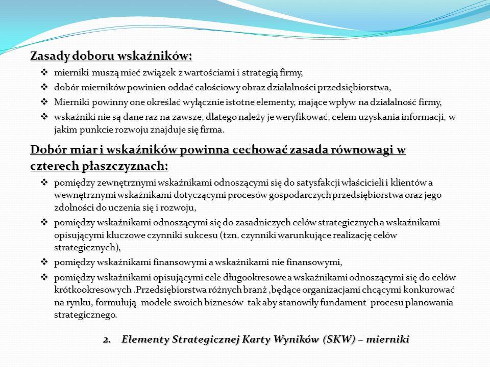 2.Elementy Strategicznej Karty Wyników (SKW) – mierniki Zasady doboru wskaźników:  mierniki muszą mieć związek z wartościami i strategią firmy,  dob