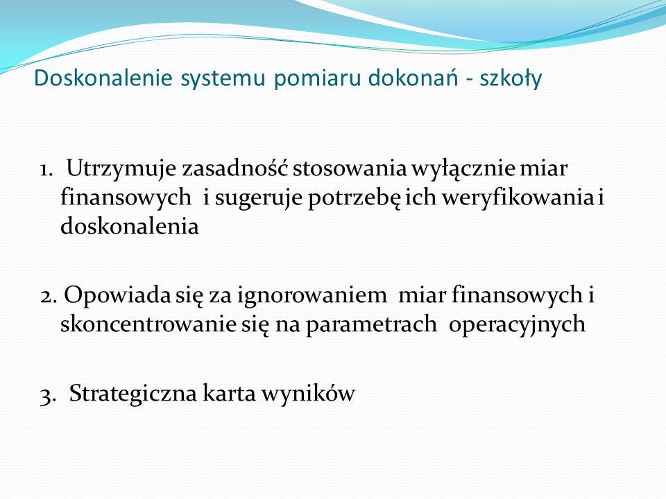 Doskonalenie systemu pomiaru dokonań - szkoły 1. Utrzymuje zasadność stosowania wyłącznie miar finansowych i sugeruje potrzebę ich weryfikowania i dos