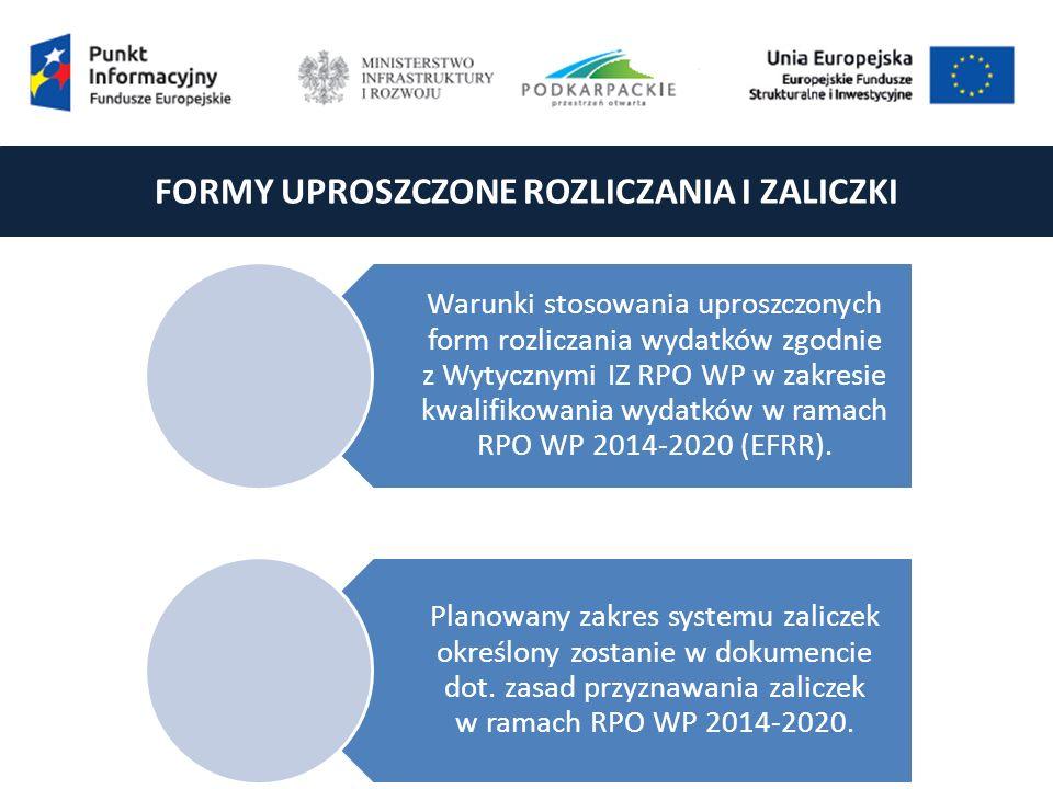 FORMY UPROSZCZONE ROZLICZANIA I ZALICZKI Warunki stosowania uproszczonych form rozliczania wydatków zgodnie z Wytycznymi IZ RPO WP w zakresie kwalifikowania wydatków w ramach RPO WP 2014-2020 (EFRR).
