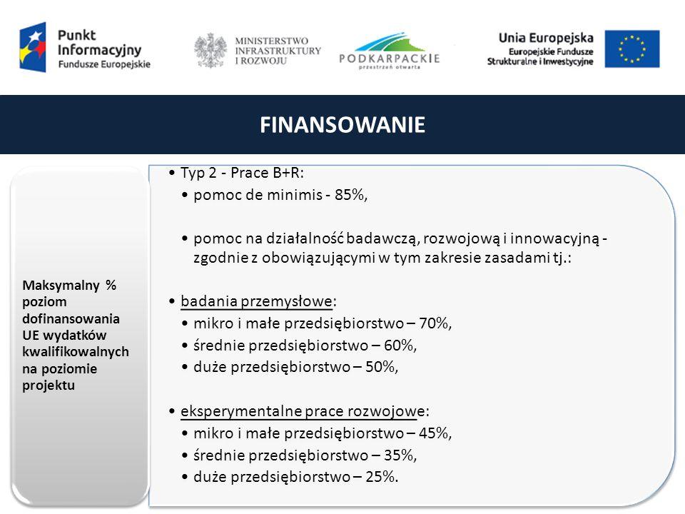 FINANSOWANIE Typ 2 - Prace B+R: pomoc de minimis - 85%, pomoc na działalność badawczą, rozwojową i innowacyjną - zgodnie z obowiązującymi w tym zakresie zasadami tj.: badania przemysłowe: mikro i małe przedsiębiorstwo – 70%, średnie przedsiębiorstwo – 60%, duże przedsiębiorstwo – 50%, eksperymentalne prace rozwojowe: mikro i małe przedsiębiorstwo – 45%, średnie przedsiębiorstwo – 35%, duże przedsiębiorstwo – 25%.