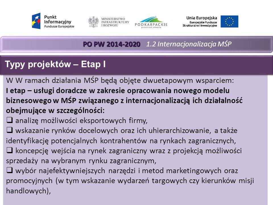 PO PW 2014-2020 PO PW 2014-2020 1.2 Internacjonalizacja MŚP W W ramach działania MŚP będą objęte dwuetapowym wsparciem: I etap – usługi doradcze w zakresie opracowania nowego modelu biznesowego w MŚP związanego z internacjonalizacją ich działalność obejmujące w szczególności:  analizę możliwości eksportowych firmy,  wskazanie rynków docelowych oraz ich uhierarchizowanie, a także identyfikację potencjalnych kontrahentów na rynkach zagranicznych,  koncepcję wejścia na rynek zagraniczny wraz z projekcją możliwości sprzedaży na wybranym rynku zagranicznym,  wybór najefektywniejszych narzędzi i metod marketingowych oraz promocyjnych (w tym wskazanie wydarzeń targowych czy kierunków misji handlowych), Typy projektów – Etap I