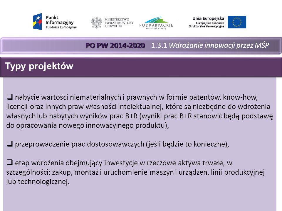 PO PW 2014-2020 PO PW 2014-2020 1.3.1 Wdrażanie innowacji przez MŚP  nabycie wartości niematerialnych i prawnych w formie patentów, know-how, licencji oraz innych praw własności intelektualnej, które są niezbędne do wdrożenia własnych lub nabytych wyników prac B+R (wyniki prac B+R stanowić będą podstawę do opracowania nowego innowacyjnego produktu),  przeprowadzenie prac dostosowawczych (jeśli będzie to konieczne),  etap wdrożenia obejmujący inwestycje w rzeczowe aktywa trwałe, w szczególności: zakup, montaż i uruchomienie maszyn i urządzeń, linii produkcyjnej lub technologicznej.