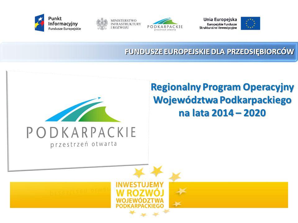 FUNDUSZE EUROPEJSKIE DLA PRZEDSIĘBIORCÓW Regionalny Program Operacyjny Województwa Podkarpackiego na lata 2014 – 2020