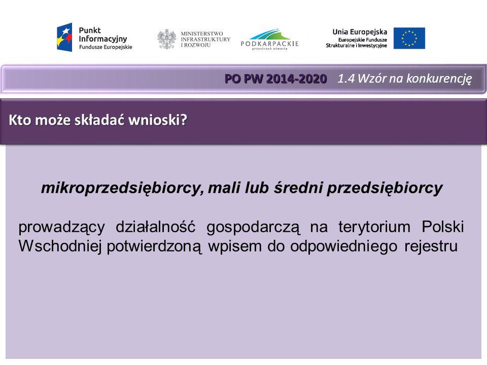 PO PW 2014-2020 PO PW 2014-2020 1.4 Wzór na konkurencję Kto może składać wnioski.