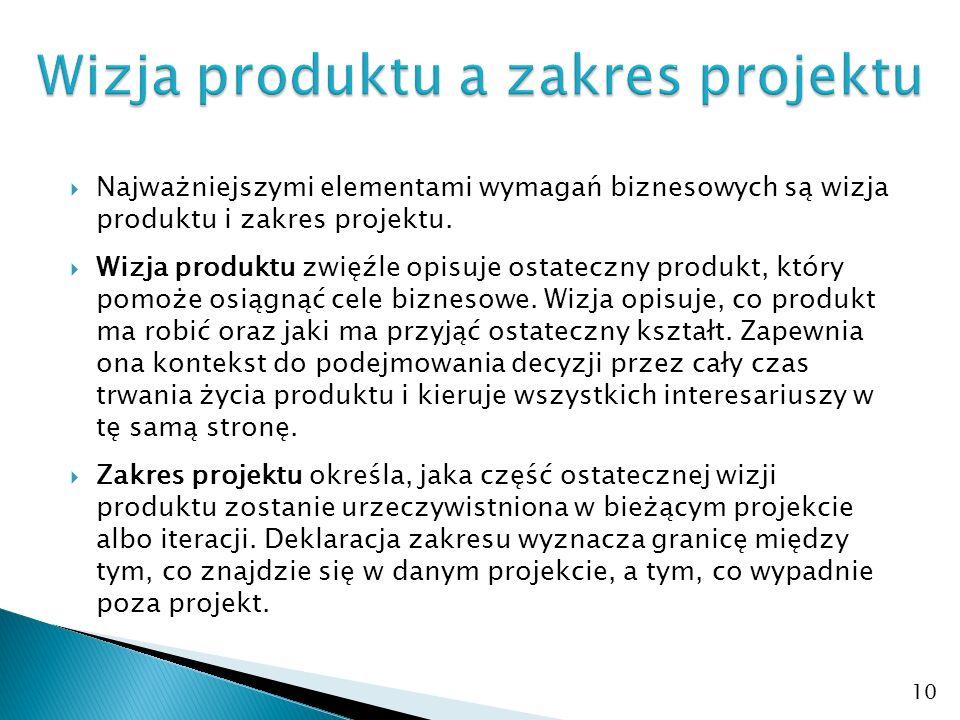  Najważniejszymi elementami wymagań biznesowych są wizja produktu i zakres projektu.