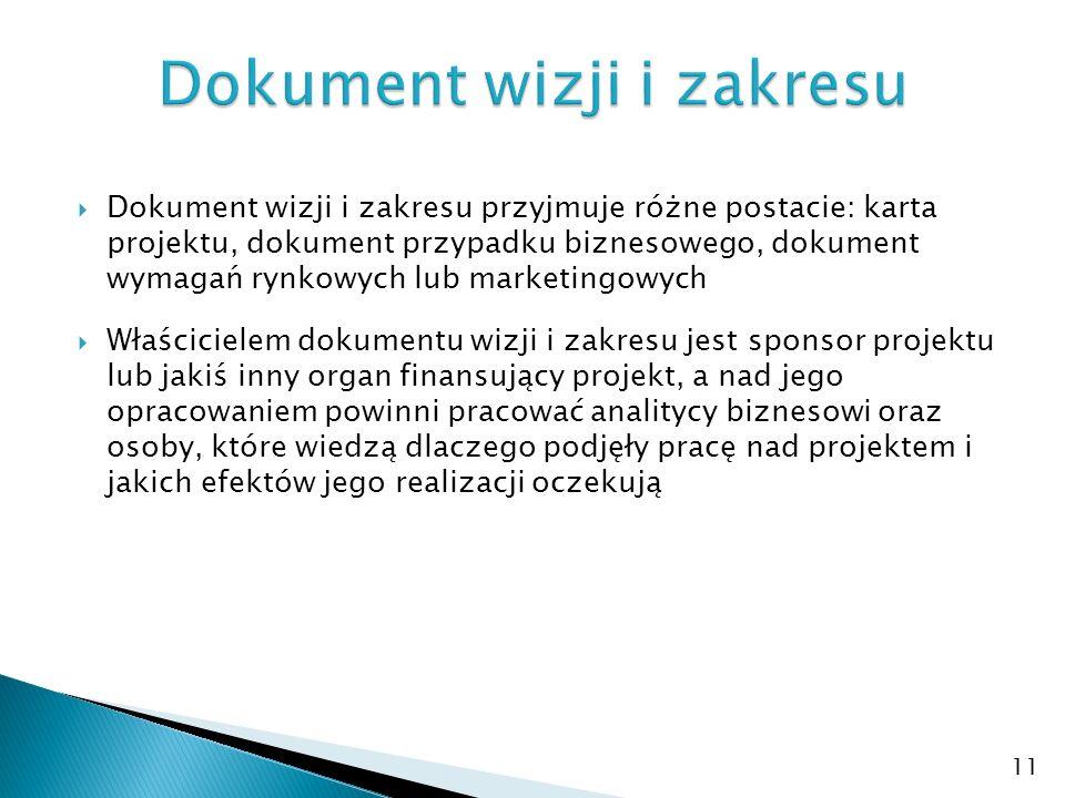  Dokument wizji i zakresu przyjmuje różne postacie: karta projektu, dokument przypadku biznesowego, dokument wymagań rynkowych lub marketingowych  W