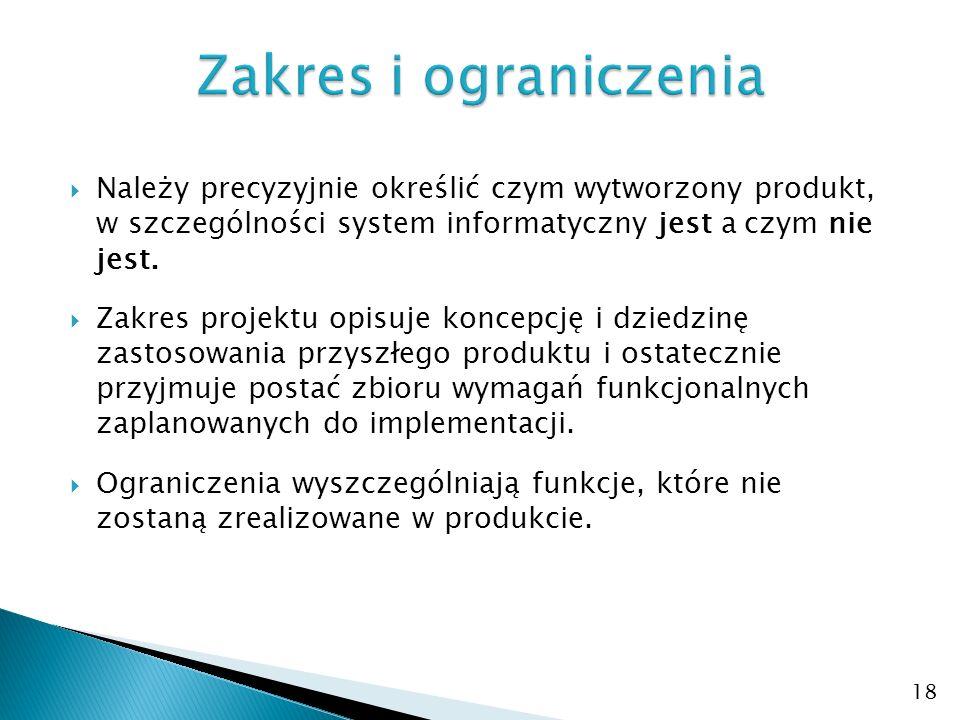  Należy precyzyjnie określić czym wytworzony produkt, w szczególności system informatyczny jest a czym nie jest.
