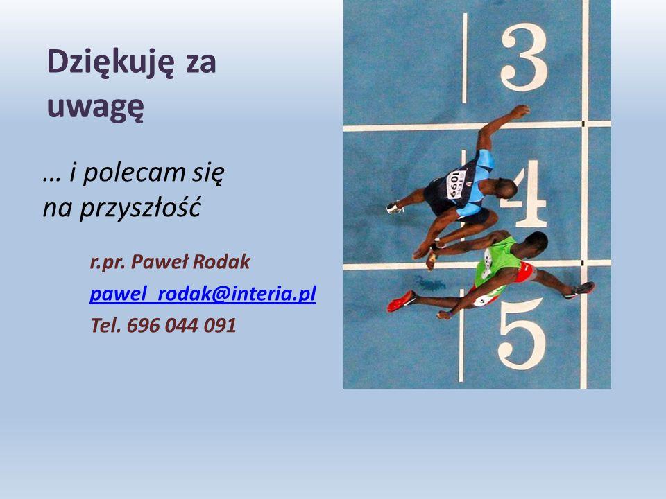 Dziękuję za uwagę r.pr. Paweł Rodak pawel_rodak@interia.pl Tel.