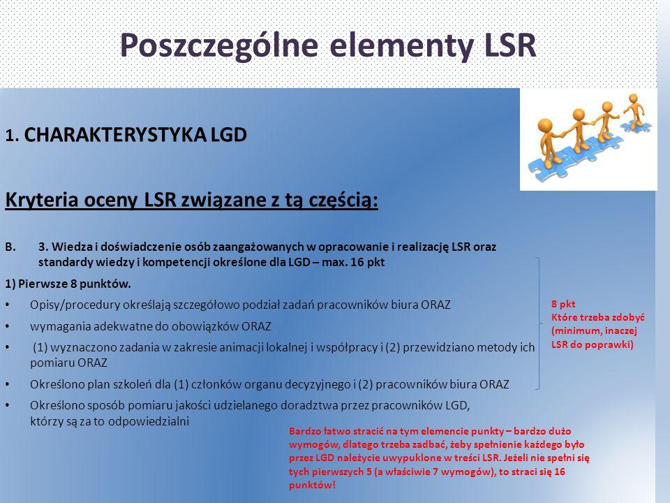 Poszczególne elementy LSR 1. CHARAKTERYSTYKA LGD Kryteria oceny LSR związane z tą częścią: B.3.