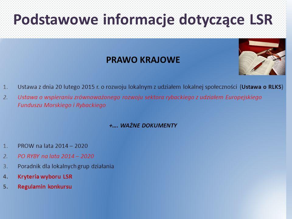 Podstawowe informacje dotyczące LSR PRAWO KRAJOWE 1.Ustawa z dnia 20 lutego 2015 r.