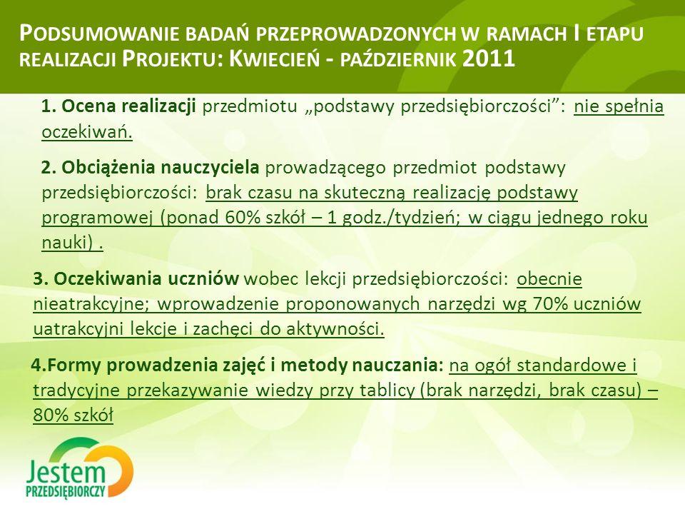 """P ODSUMOWANIE BADAŃ PRZEPROWADZONYCH W RAMACH I ETAPU REALIZACJI P ROJEKTU : K WIECIEŃ - PAŹDZIERNIK 2011 1. Ocena realizacji przedmiotu """"podstawy prz"""
