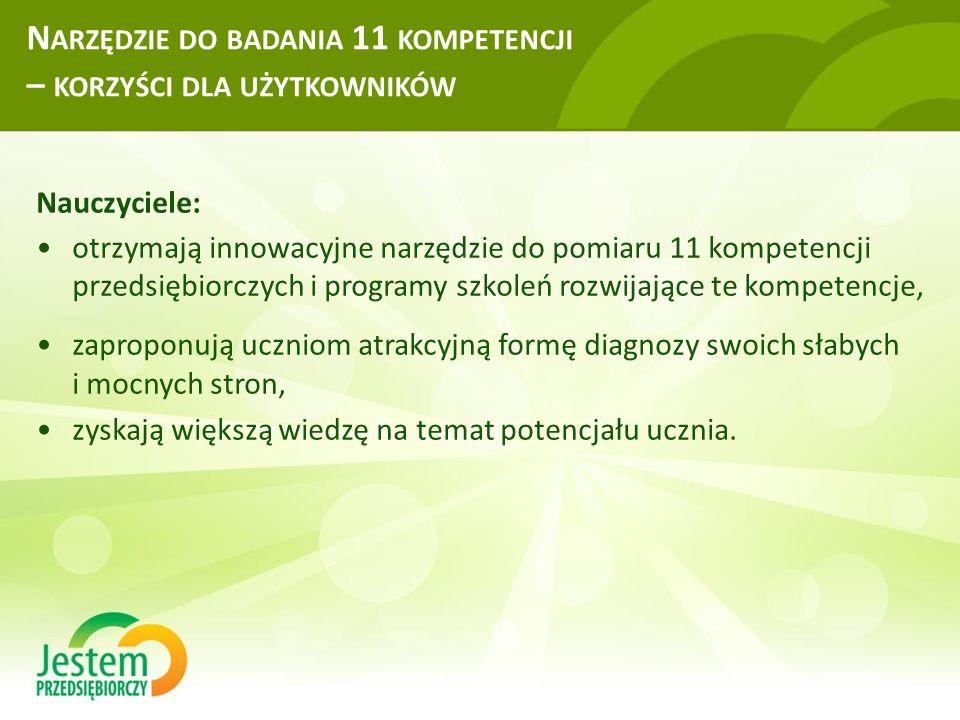 N ARZĘDZIE DO BADANIA 11 KOMPETENCJI – KORZYŚCI DLA UŻYTKOWNIKÓW Nauczyciele: otrzymają innowacyjne narzędzie do pomiaru 11 kompetencji przedsiębiorcz