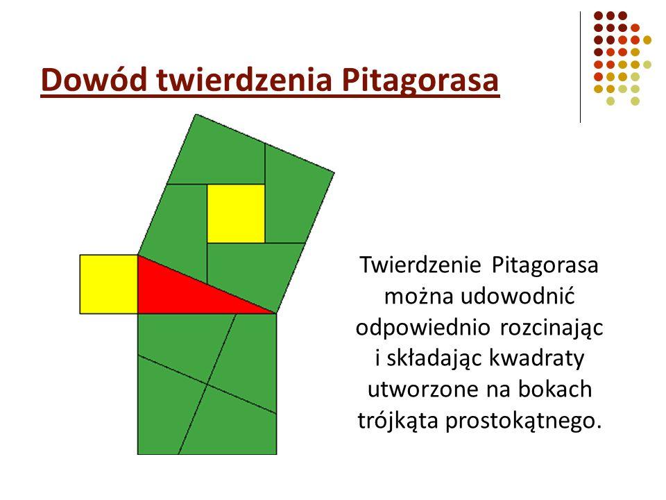 Dowód twierdzenia Pitagorasa Twierdzenie Pitagorasa można udowodnić odpowiednio rozcinając i składając kwadraty utworzone na bokach trójkąta prostokątnego.
