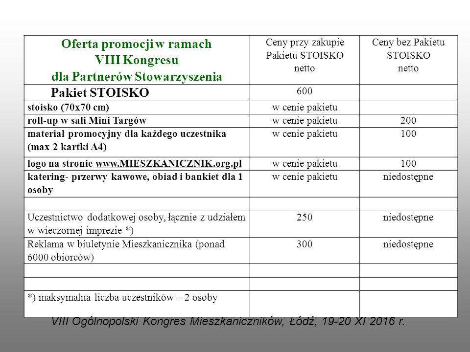 Oferta promocji w ramach VIII Kongresu dla Partnerów Stowarzyszenia Ceny przy zakupie Pakietu STOISKO netto Ceny bez Pakietu STOISKO netto Pakiet STOI