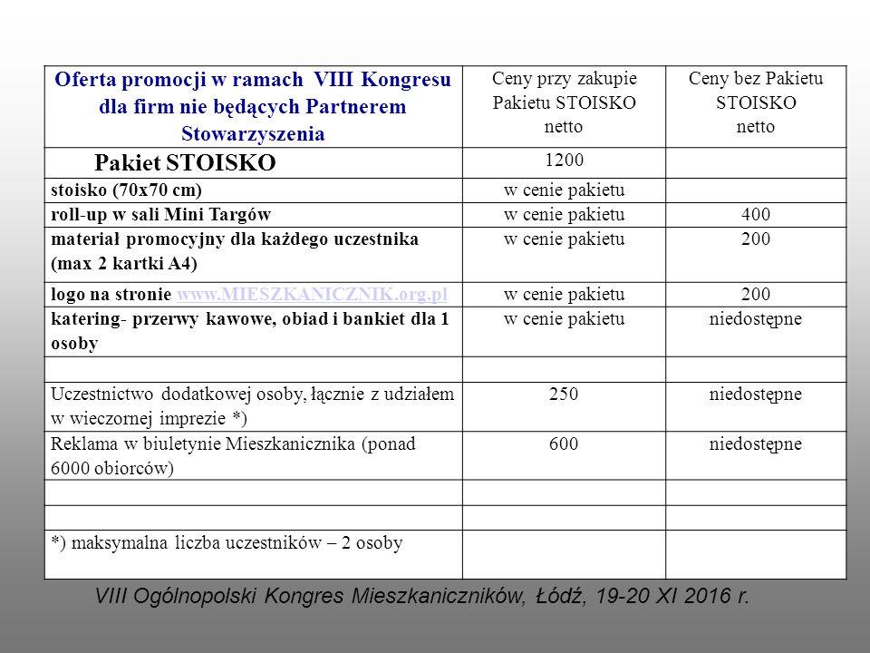 Oferta promocji w ramach VIII Kongresu dla firm nie będących Partnerem Stowarzyszenia Ceny przy zakupie Pakietu STOISKO netto Ceny bez Pakietu STOISKO