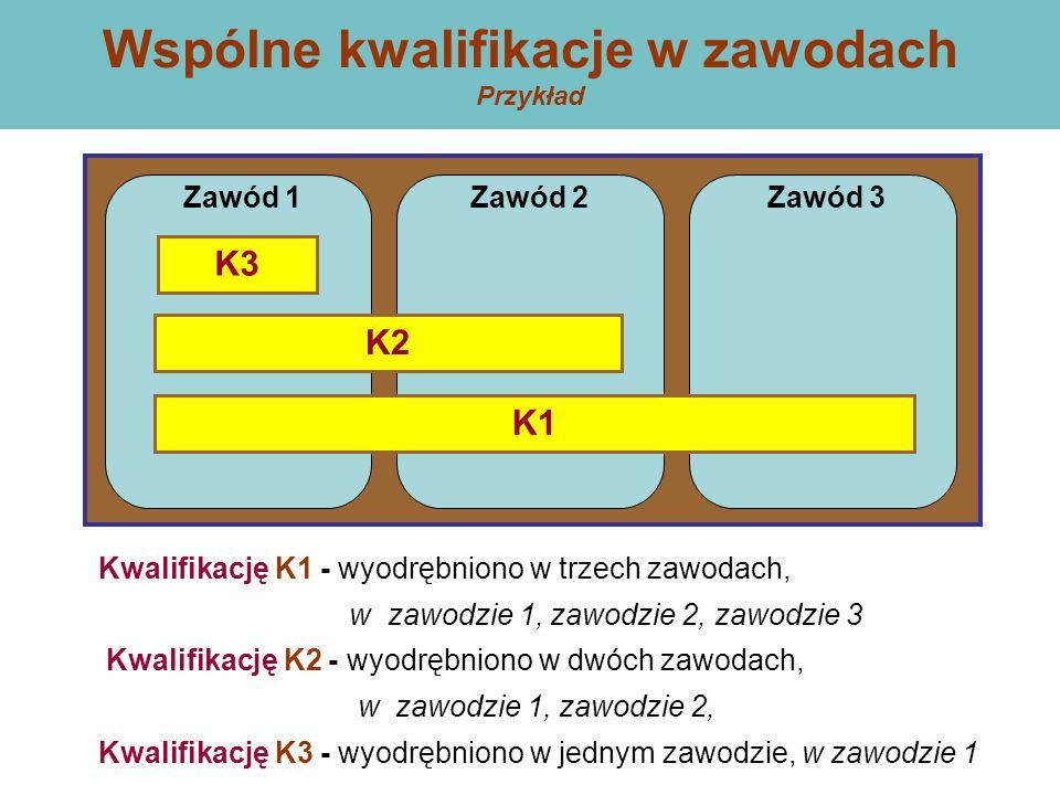 Kwalifikację K1 - wyodrębniono w trzech zawodach, w zawodzie 1, zawodzie 2, zawodzie 3 Kwalifikację K2 - wyodrębniono w dwóch zawodach, w zawodzie 1, zawodzie 2, Kwalifikację K3 - wyodrębniono w jednym zawodzie, w zawodzie 1 Wspólne kwalifikacje w zawodach Przykład Zawód 1Zawód 2Zawód 3 K3 K2 K1
