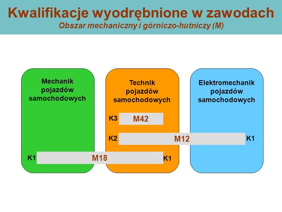 Kwalifikacje wyodrębnione w zawodach Obszar mechaniczny i górniczo-hutniczy (M) Technik pojazdów samochodowych Mechanik pojazdów samochodowych Elektromechanik pojazdów samochodowych M42 M12 M18 K1 K2 K3