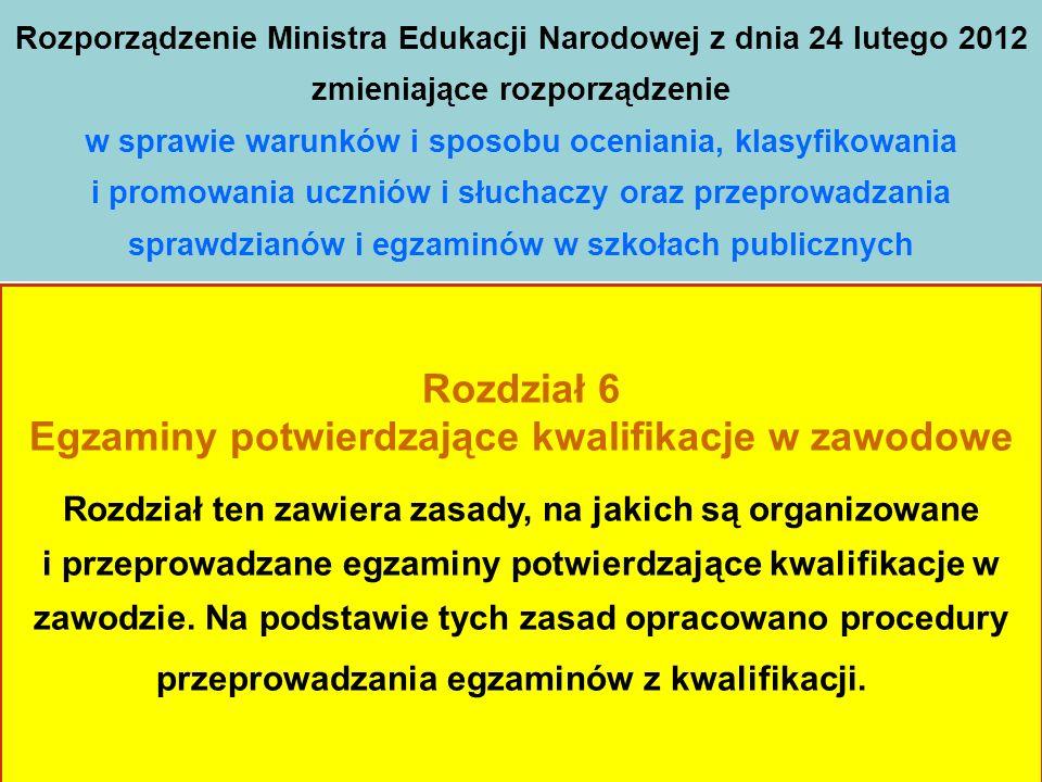 Rozporządzenie Ministra Edukacji Narodowej z dnia 24 lutego 2012 zmieniające rozporządzenie w sprawie warunków i sposobu oceniania, klasyfikowania i promowania uczniów i słuchaczy oraz przeprowadzania sprawdzianów i egzaminów w szkołach publicznych Rozdział 6 Egzaminy potwierdzające kwalifikacje w zawodowe Rozdział ten zawiera zasady, na jakich są organizowane i przeprowadzane egzaminy potwierdzające kwalifikacje w zawodzie.