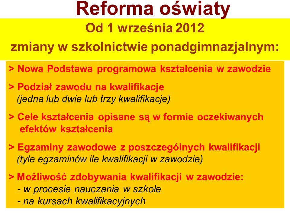 Od 1 września 2012 zmiany w szkolnictwie ponadgimnazjalnym: Reforma oświaty > Nowa Podstawa programowa kształcenia w zawodzie > Podział zawodu na kwal