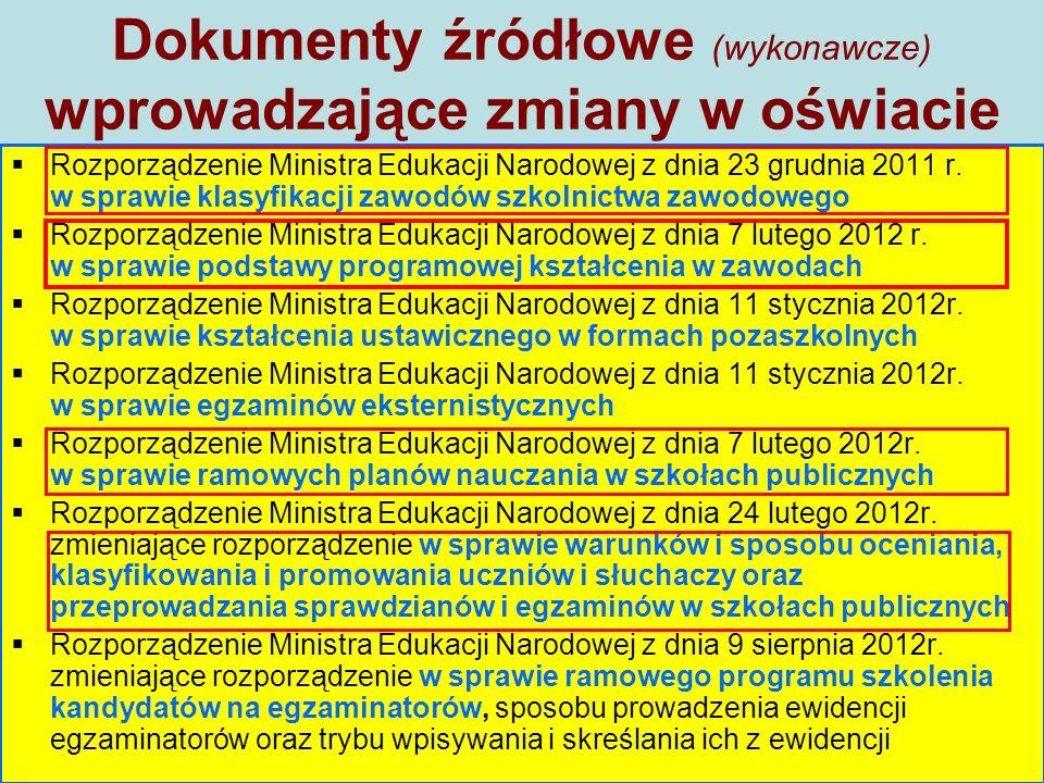 Dokumenty źródłowe (wykonawcze) wprowadzające zmiany w oświacie  Rozporządzenie Ministra Edukacji Narodowej z dnia 23 grudnia 2011 r.