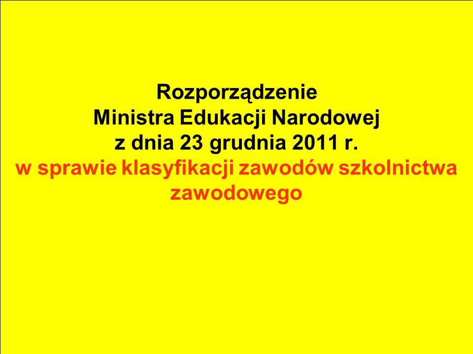 Rozporządzenie Ministra Edukacji Narodowej z dnia 23 grudnia 2011 r. w sprawie klasyfikacji zawodów szkolnictwa zawodowego