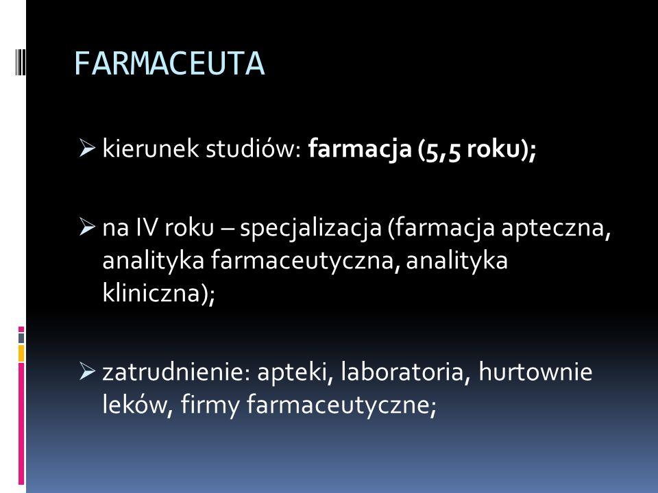 FARMACEUTA  kierunek studiów: farmacja (5,5 roku);  na IV roku – specjalizacja (farmacja apteczna, analityka farmaceutyczna, analityka kliniczna);  zatrudnienie: apteki, laboratoria, hurtownie leków, firmy farmaceutyczne;