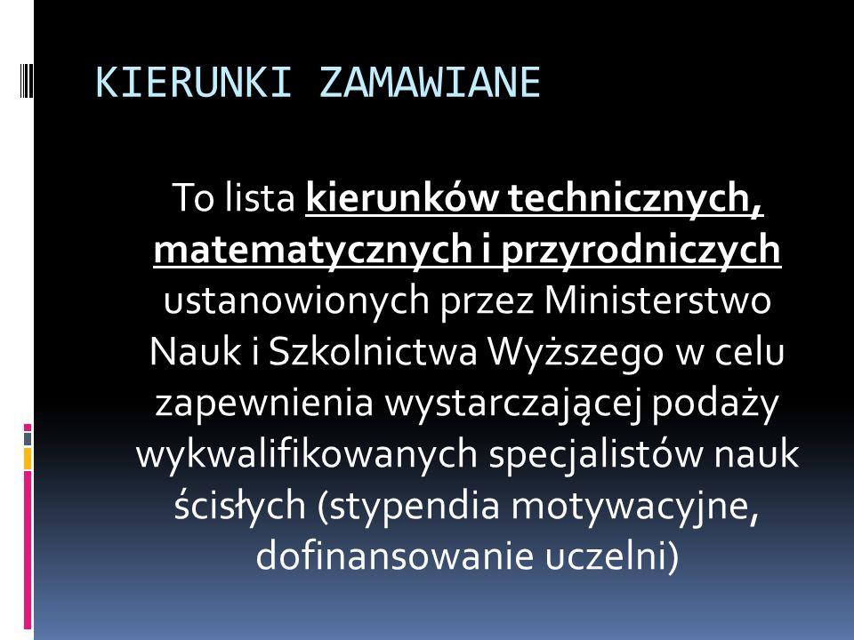 KIERUNKI ZAMAWIANE To lista kierunków technicznych, matematycznych i przyrodniczych ustanowionych przez Ministerstwo Nauk i Szkolnictwa Wyższego w celu zapewnienia wystarczającej podaży wykwalifikowanych specjalistów nauk ścisłych (stypendia motywacyjne, dofinansowanie uczelni)