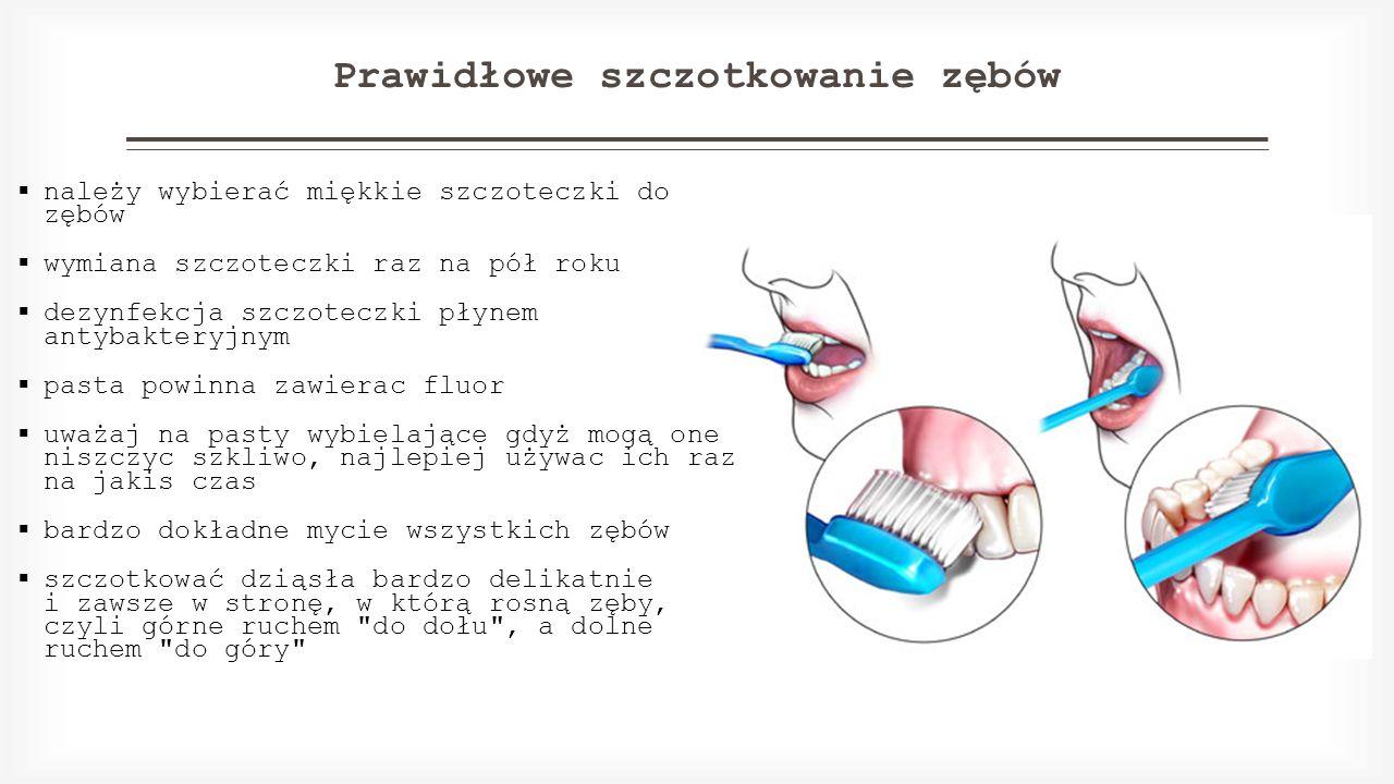 Prawidłowe szczotkowanie zębów  należy wybierać miękkie szczoteczki do zębów  wymiana szczoteczki raz na pół roku  dezynfekcja szczoteczki płynem a