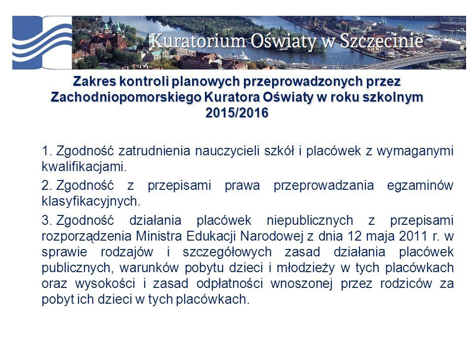 Zakres kontroli planowych przeprowadzonych przez Zachodniopomorskiego Kuratora Oświaty w roku szkolnym 2015/2016 1.