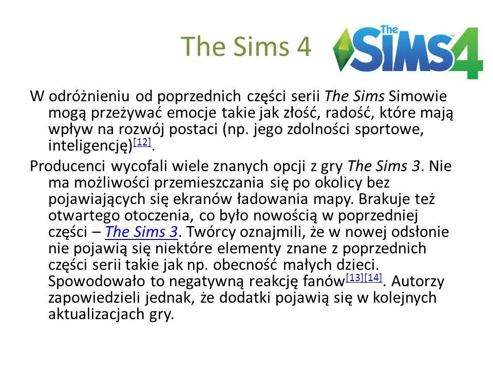 The Sims 4 W odróżnieniu od poprzednich części serii The Sims Simowie mogą przeżywać emocje takie jak złość, radość, które mają wpływ na rozwój postac