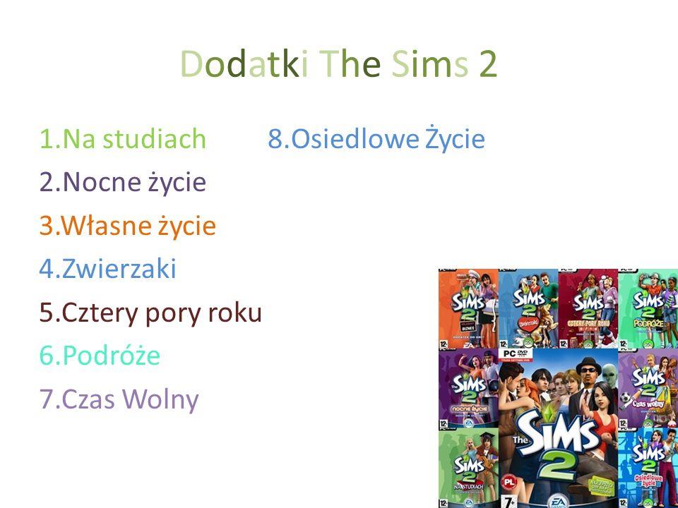 Dodatki The Sims 2 1.Na studiach 8.Osiedlowe Życie 2.Nocne życie 3.Własne życie 4.Zwierzaki 5.Cztery pory roku 6.Podróże 7.Czas Wolny